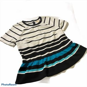 MICHAEL KORS Striped Peplum Top Petite Large